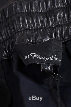 MENS 3.1 Phillip Lim NWT $1500 Black Leather Tapered Drawstring Trousers SZ 34
