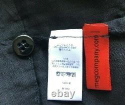 MONITALY LA men's black linen pleated drawstring pants Large drop crotch EUC