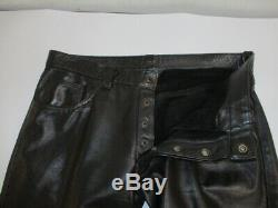 MR. S LEATHER San Francisco Black Leather Button Fly Pants Jeans Size 36 X 34