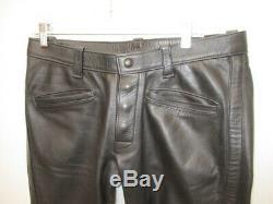 MR. S LEATHER San Francisco Black Leather Snap Front Pants Jeans Size 35 X 34