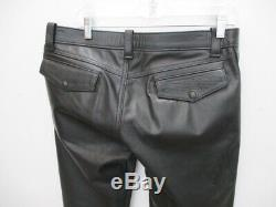 MR. S LEATHER San Francisco Black Leather Snap Front Pants Jeans Size 35 X 34