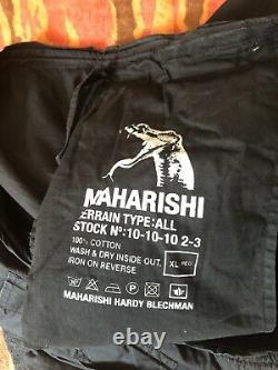 Maharishi Black Trousers With Red Embroidered Dragon XL