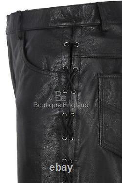 Men Leather Laced Trouser Black Motorcycle Biker 100% HIDE LEATHER Pants 00126