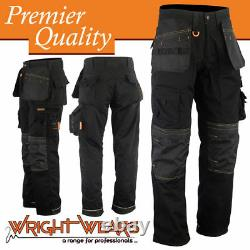 Men Work Cargo Trouser Black Holster Heavy Duty Multi Pockets LOT