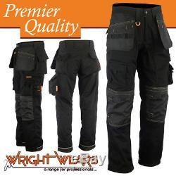 Men Work Cargo Trouser Holster Black Heavy Duty Multi Pockets W34 L31