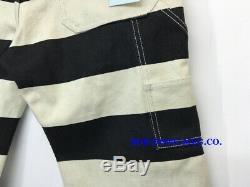 Men Work Pants Heavyweight Prison Striped Pants Moto Multi-Pockets Biker Trouser