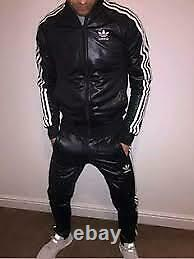 Men's Black LambSkin Tracksuit withThree White Stripe Jogging Trouser and Jacket