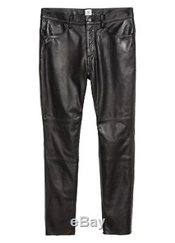 Men's H&M STUDIO AW17 Leather Pants 33 Fit Trousers Biker Style $350RRP Black