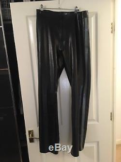 Men's Latex Rubber Trousers By Libidex XL Black With Grey/platinum Stripe