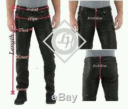 Men's Leather Pant Black New Genuine Sheep Napa Designer Biker Motorcycle