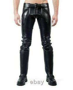 Men's Leather Pants Double Zip Jean Trousers Breeches BLUF lederhosen Lederjeans