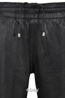 Men's Leather Trouser Black With White Straps Soft Napa Jogging Bottom 4051