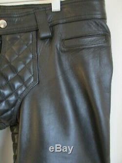 Men's Mister B Black Leather Padded Sailor Jeans Size 33