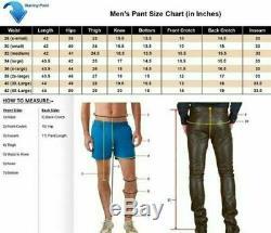 Men's Original Leather Trouser Jeans Breeches Padded Pants BLUF Lederhosen Biker