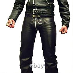 Men's Real Black Cowhide Leather Bikers Style Front Quilted Panel Pants