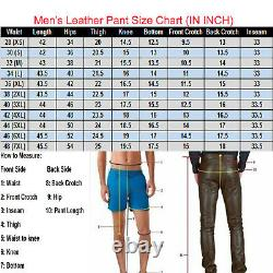 Men's Real Cow Leather Biker Pant 501 Levi's Style Pant Slim Fit Jeans Trousers