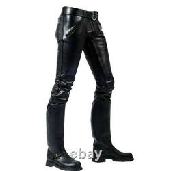 Men's Real Cowhide Leather Double Zips Stylish Biker Pant Leder Breeches Trouser
