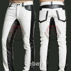 Men's Real Cowhide Leather Full Police Military Style White & Black Uniform