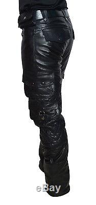 Men's Real Leather Cargo Quilted Panels Pants Bikers Cargo Pants+FREE BELT