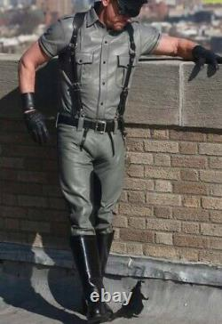 Men's Real Leather Carpenter Pants & Police Shirt BLUF Grey Pants And Shirt