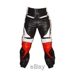 Men's Red Black Leather Motorcycle Pant Racing Pant New All Sizes Custom #1879
