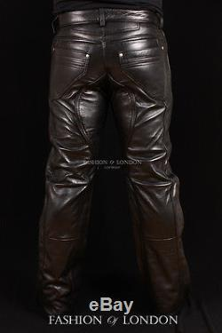 Men's TROOPER Black Lambskin Premium Real Leather Motorcycle Trouser Pants Jeans