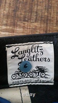 Men's Vintage Black Leather LANGLITZ Competition Motorcycle Pants Breeches Sz-30