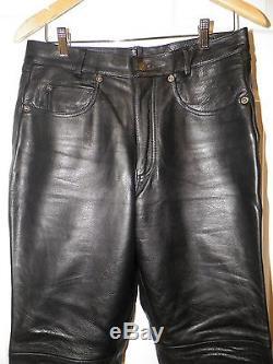 Men's Wilsons Heavy Black Leather Zip Front Pants Size 32 Look Unused