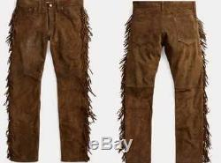 Men western cowboy suede leather pants with fringes jeans style