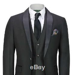 Mens 3 Piece Tuxedo Suit Black Slim Fit Smart Formal Retro Dinner Jacket Blazer