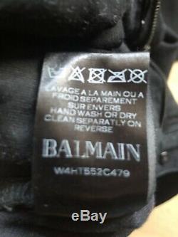 Mens Balmain Coated Black Cargo Denim Jeans Trousers 100% Authentic Size 34
