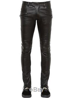 Mens Balmain Leather Trousers W32 L34 Pant Jeans