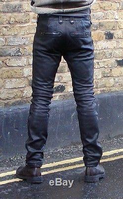Mens Belstaff black leather biker style jean size 32
