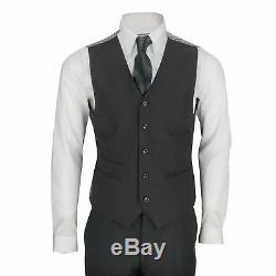 Mens Black Chinese Grandad Collar 3 Piece Suit Fitted Nehru Jacket Wedding Party