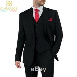 Mens Cavani Slim Fit Black Formal Wedding Blazer Waistcoat Trousers 3 Piece Suit