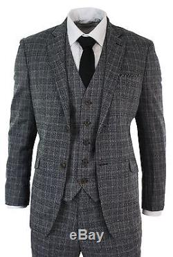 Mens Check Vintage Retro Herringbone Tweed Grey Black 3 Piece Suit Tailored Fit