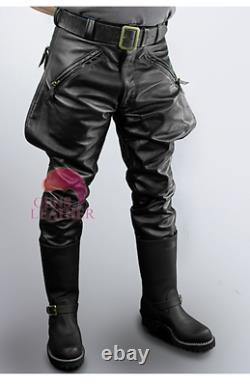 Mens Cowhide Leather Pants Trousers BLUF Pants Lederhosen Lederjeans Breeches