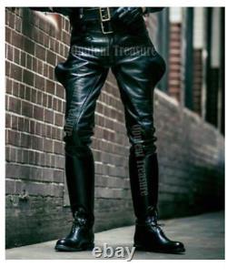 Mens Cowhide Leather Pants Trousers Lederjeans BLUF Pants Lederhosen Breeches
