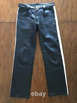 Mens Expectations London Leather Pants 32x29 Black (mr s nyc rob 665 rubio)