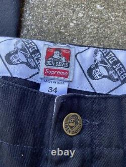 Mens FW19 Supreme x Ben Davis Black Pink Work Pants Size 34 Made In USA