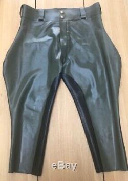 Mens Latex Rubber Breeches Uniform Military Stripe Trousers BLUF gay int