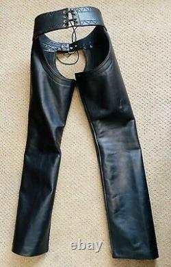 Mens Leather Chaps NewRoB Amsterdam. BLUF Gay Kink Fetish. Size 32/31 Adjustable