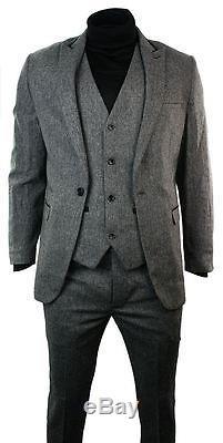 Mens Light Grey Herringbone Tweed Vintage Slim Fit 3 Piece Formal Suit Black Tri