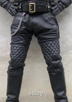 Mens NYC LEATHERMAN Custom Quilted Black Leather Pants 36 Waist