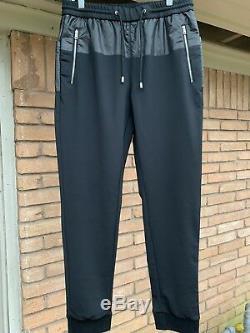 Mens Prada Milano Drawstring Zipper Pocket Track Pants Red Logo Size 32 Black