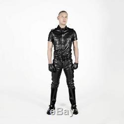 Mens genuine Leather Seamless Skinny pants five pockets jeans style premium Kink