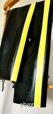Mens rubber full length chaps with yellow stripe, 30/32 waist, 30 leg
