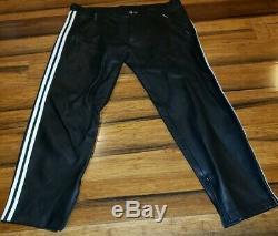 Mister B Leather Black Pants Size 35 MR-B Leather Stipe on size biker Berlin