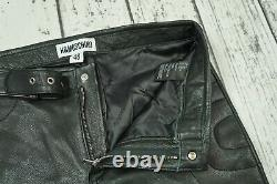 Moschino H&M black 100% Leather Trousers Pants Size 48 US33R US 33R 33
