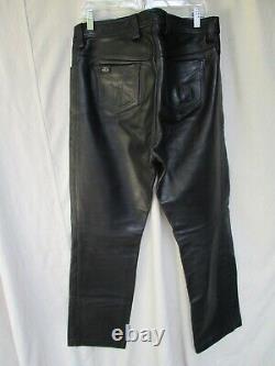 Mr B Amsterdam heavy black leather straight leg gay fetish jeans pants 35 31